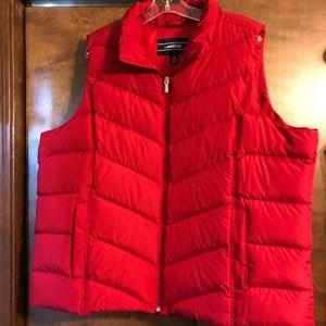 Lands' End red puffer vest